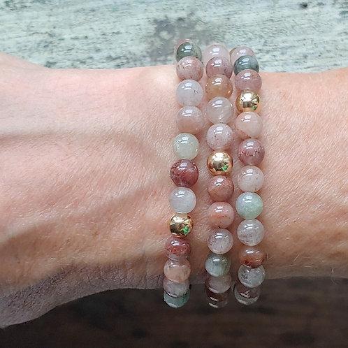 6mm multi quartz & 6mm gold-filled stretchy bracelet