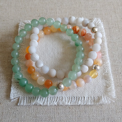 semi-precious bracelet trio #4