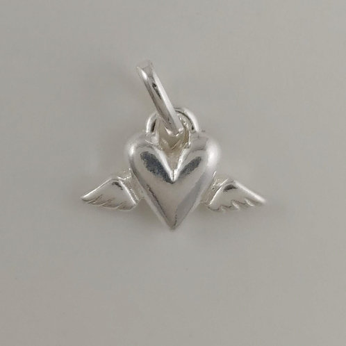 sterling silver winged 'heart' charm