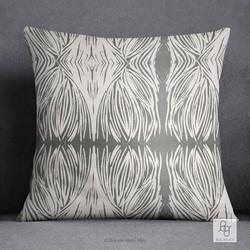 Gray Linocut Pillow