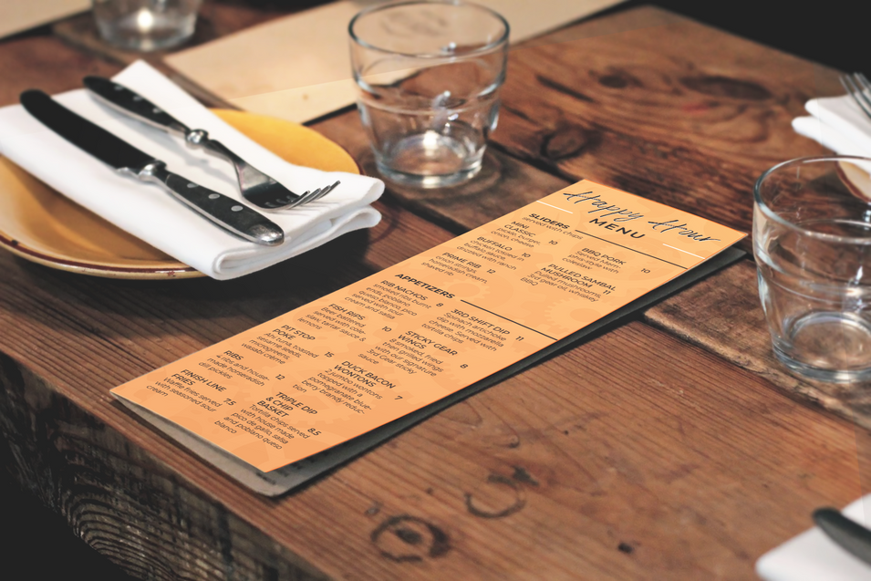 Happy Hour Menu Design