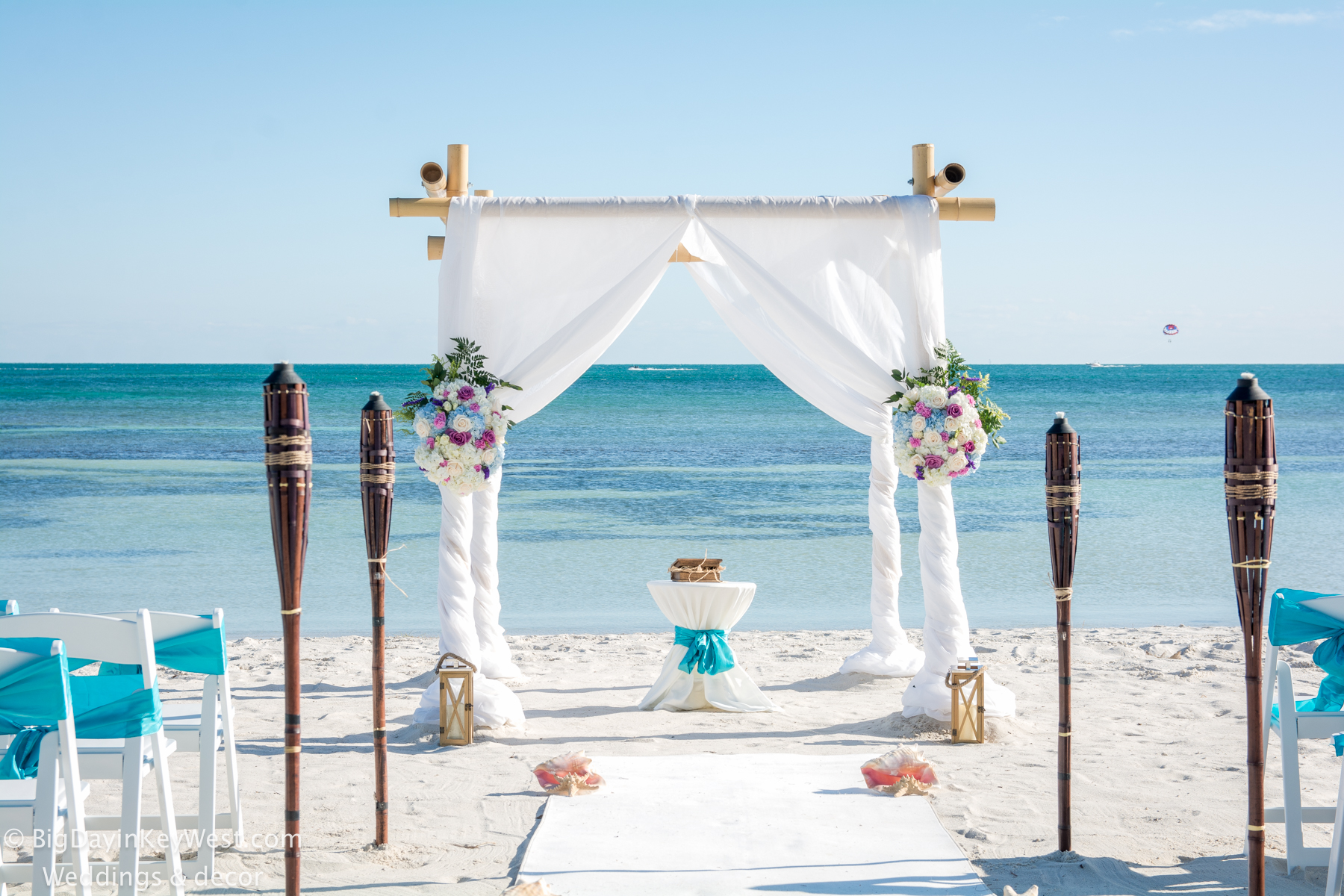 Key West turquoise beach wedding