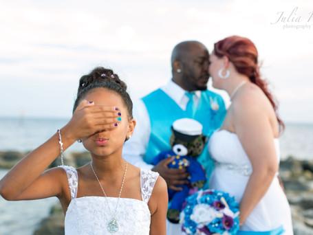 Marine wedding on Key West beach