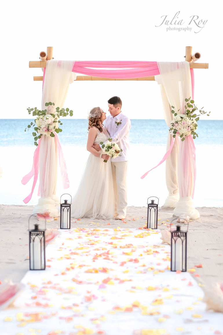 Key West pink wedding on the beach