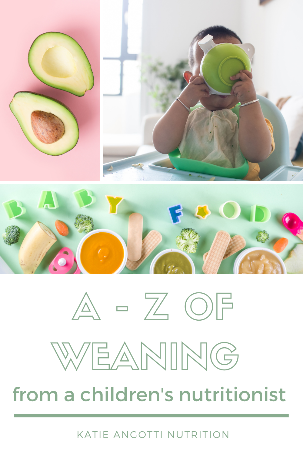Baby weaning eating food from bowl, jars of baby food and finger foods, avocado