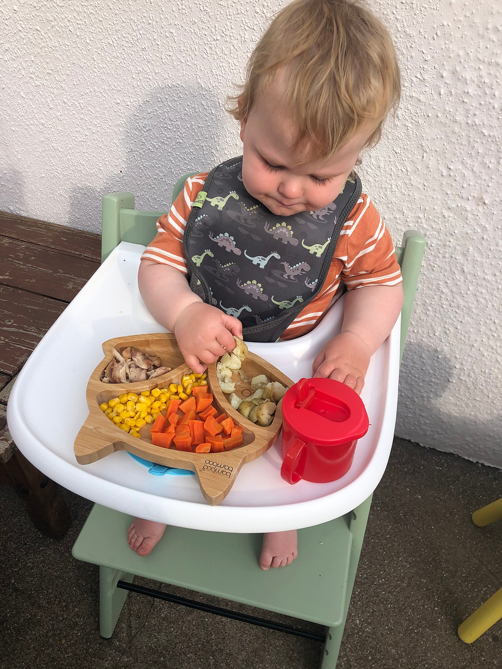 Baby eating finger foods and baby led weaning in highchair
