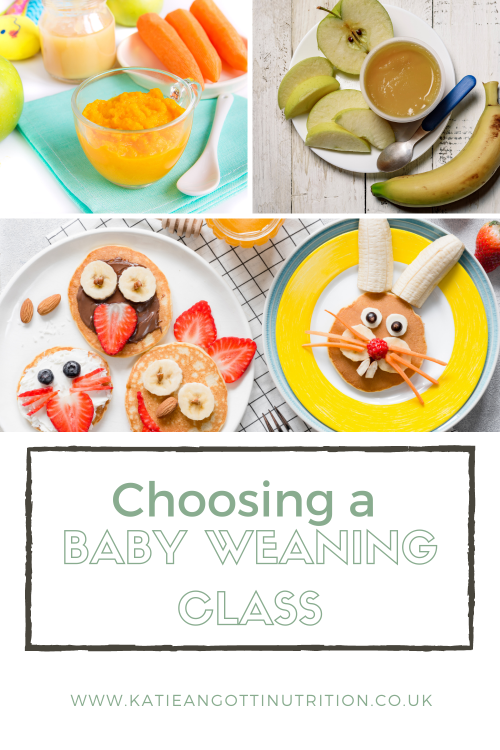 Choosing a baby weaning class with a child nutritionist home made baby food in bowls and baby led weaning finger foods
