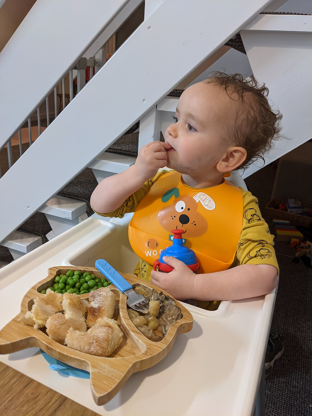 Baby boy in high chair eating finger foods for baby led weaning