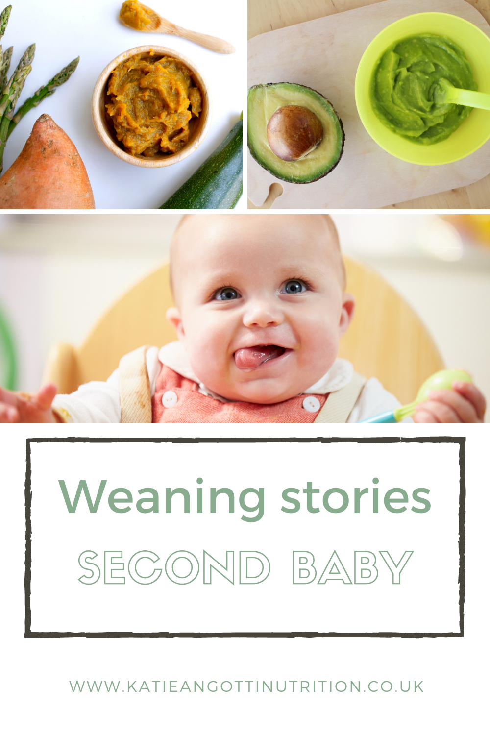 Baby in highchair having first weaning food. Sweet potato puree baby food. Avocado puree baby food