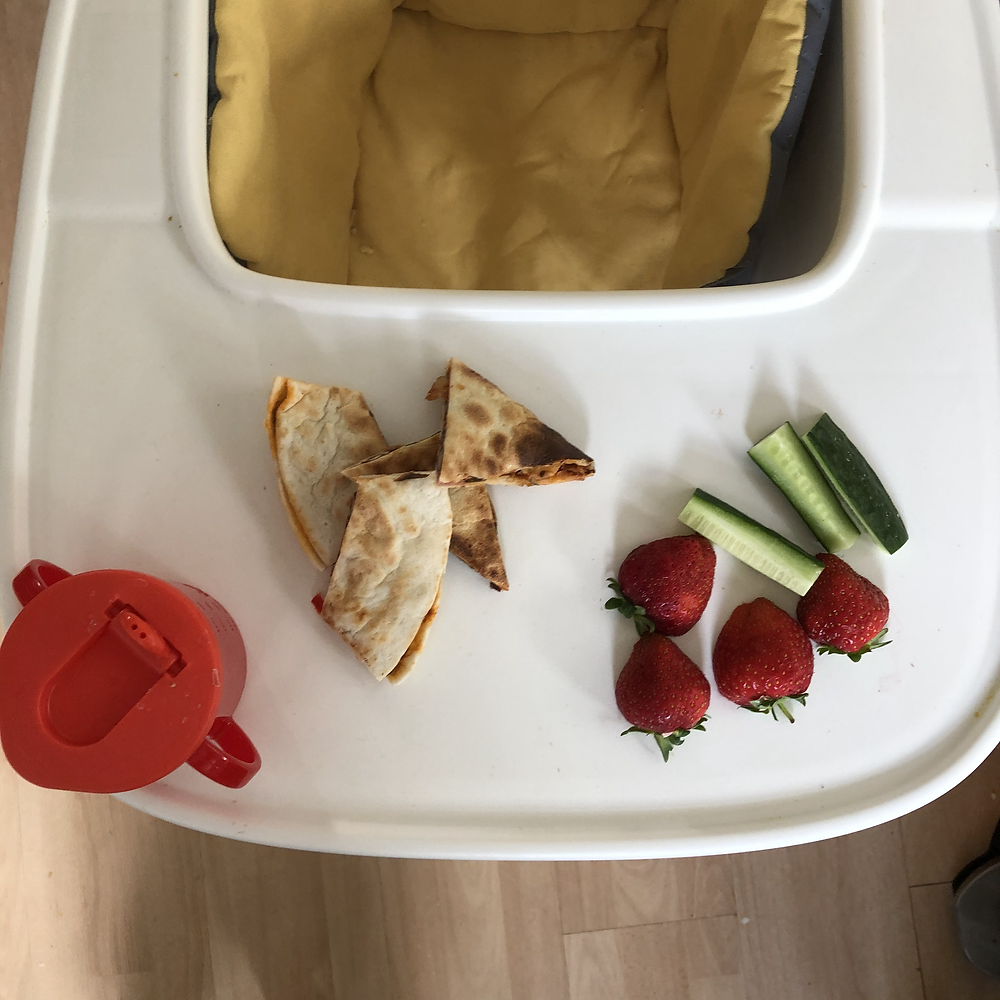Baby led weaning finger foods on a high chair with a cup given by a child nutritionist