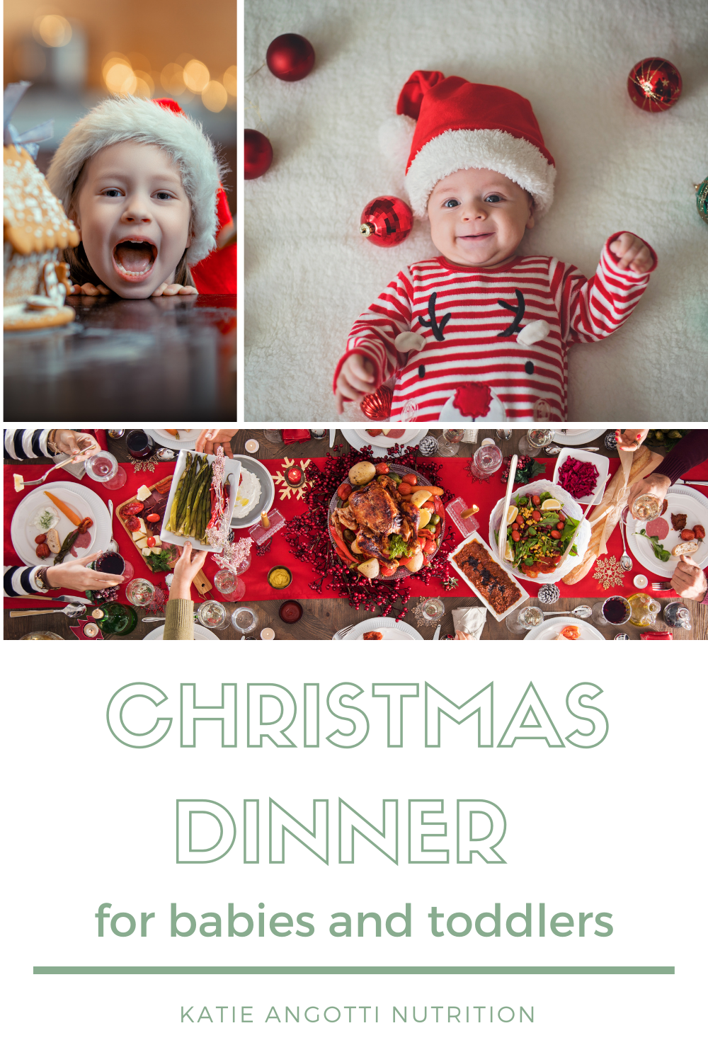 Baby in christmas outfit, little girl with christmas food, christmas food on a table
