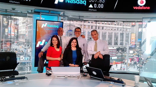 """With Anchor Melissa Lee at the CNBC show """"Fast Money"""" atTimes Square, NYC"""