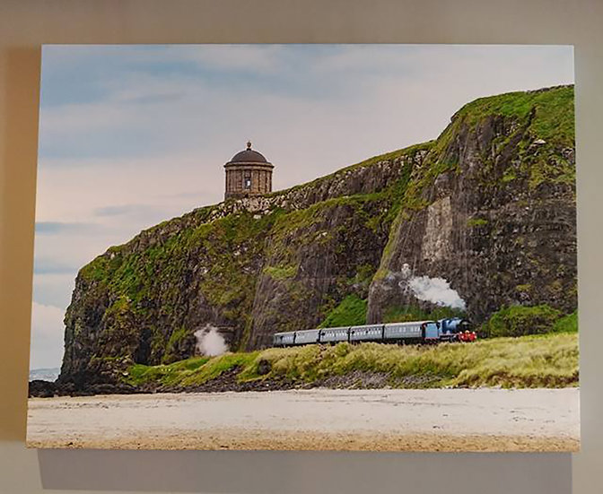 SALE - Steam Train under Mussenden Temple  (Large Canvas Print 40in x 30in)