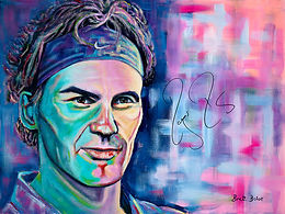 """Within my series of """"Superstars and Signatures"""" is the greatest Tennis player the world has ever seen, Roger Federer. Roger loved the painting and signed the painting below in January 2015.  The title of the painting is """"The Power Within"""".  This stunning portrait will be auctioned at the Perth Ronald McDonald House Gala Ball in November 2017 with 50% of the sale price going directly so support vulnerable families at a time of great need.  The style of the Roger Federer painting is bright and bold, capturing the character of the """"Superstar"""", capturing the look that Roger gives… one of determination and power!"""