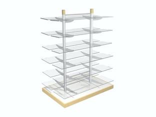 Glass shelf gondola