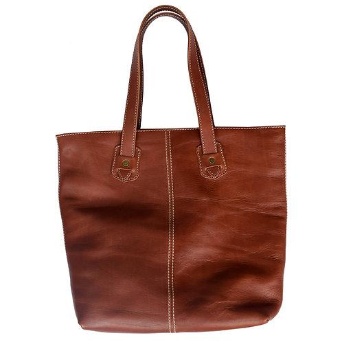 Roberu Oil Leather White Stitch Tote - Brown