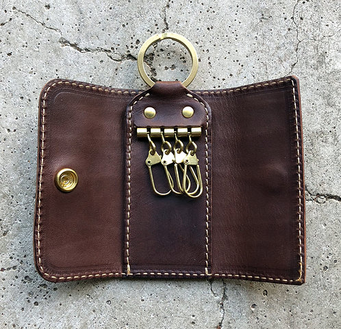 Roberu Compact Key Case Italy Vachetta Leather - Dark Brown