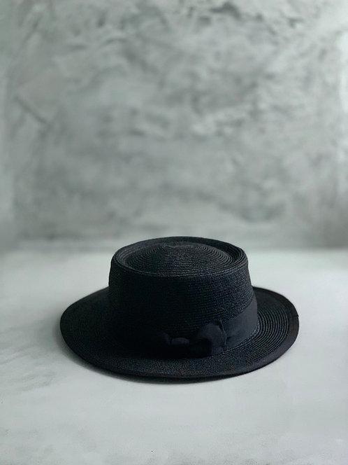 Morno Linen Brade Porkpie Boater Hat - Black