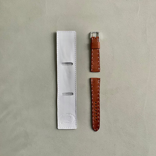 Roberu Shading Leather Hand Stitch Watch Strap - Camel