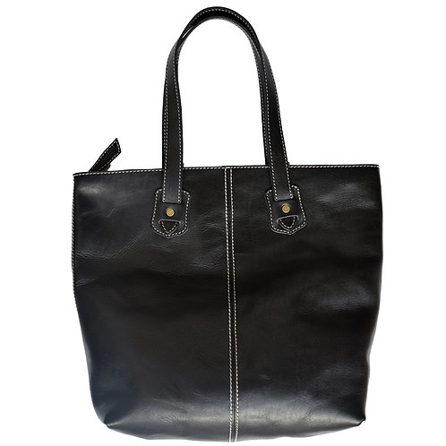 Roberu Oil Leather White Stitch Tote - Black