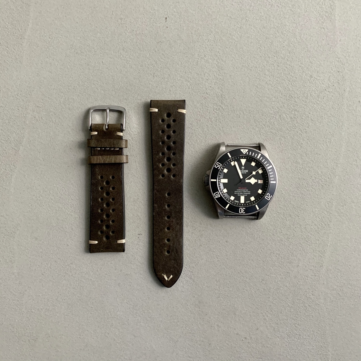 Thumbnail: Fluco Hunter Racing Leather Watch Strap - Green
