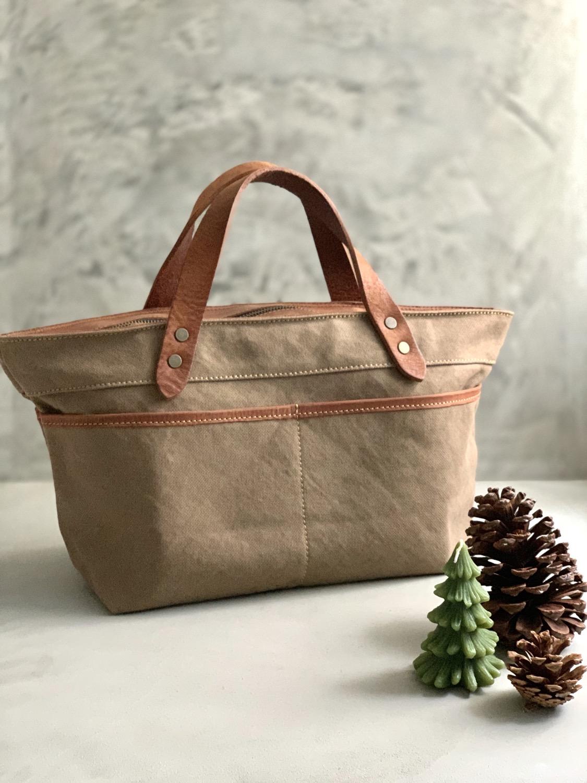 Roberu Washed Canvas Multi Pocket Bag - Light Brown