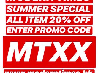 【LAST 3 DAYS 最後3天・20% OFF ALL ITEMS 全部商品・MODERN TIMES SUMMER SPECIAL OFFER 夏末優惠】