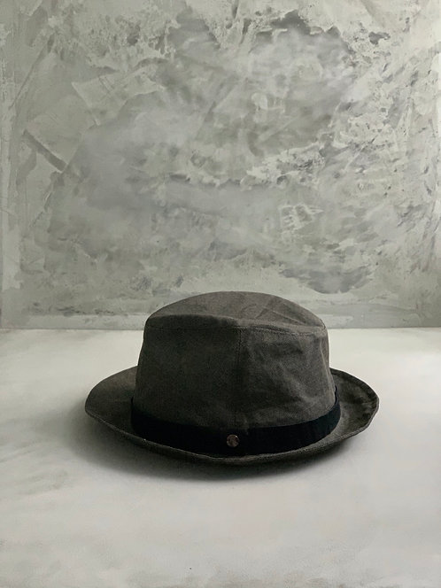 Morno Paper Cloth Leather Ribbon Hat - Brown