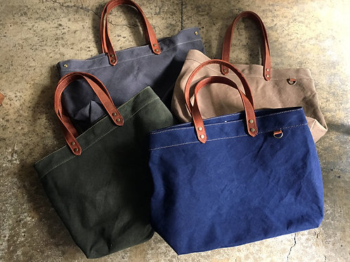 Roberu Washed Canvas & Leather Tote Bag