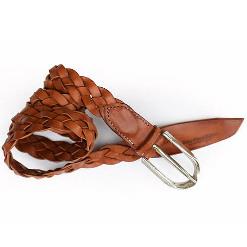 Roberu Shading Leather Braided Belt - Camel