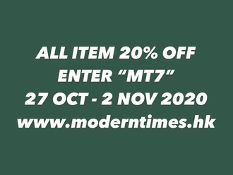 【ALL ITEM 20% OFF 限時優惠・27 OCT - 2 NOV 2020】