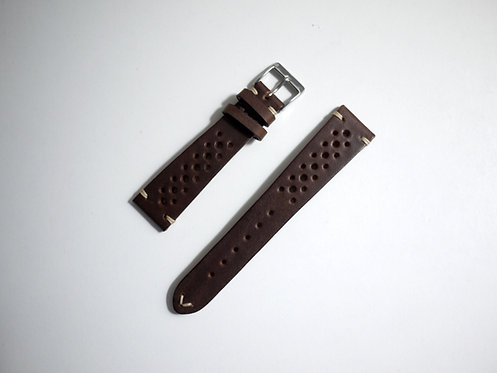 Fluco Hunter Racing Leather Watch Strap - Choco