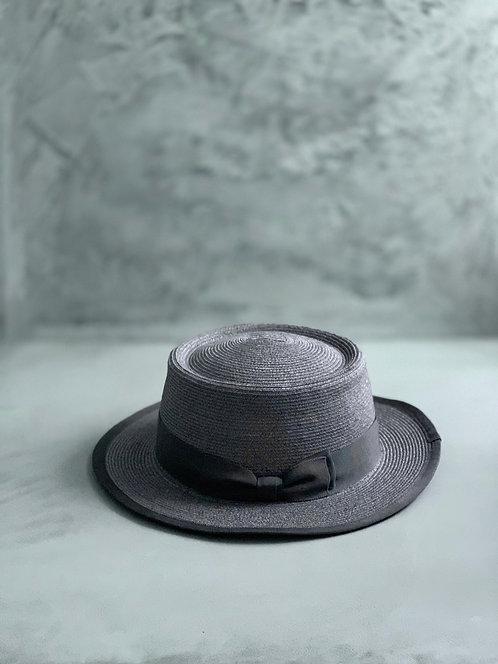 Morno Linen Brade Porkpie Boater Hat - Gray