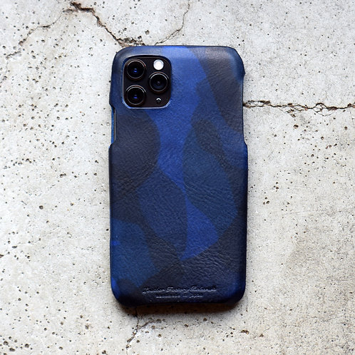Roberu Italy Camouflage Leather iPhone Case - Navy