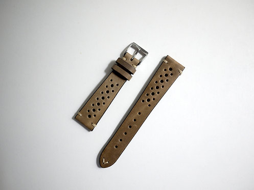Fluco Hunter Racing Leather Watch Strap - Beige