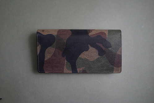 Anchor Bridge Camouflage Leather Long Wallet