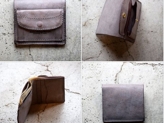 【HANDMADE IN JAPAN・ROBERU ITALY COMPACT WALLET ITALY WAX LEATHER GRAY】