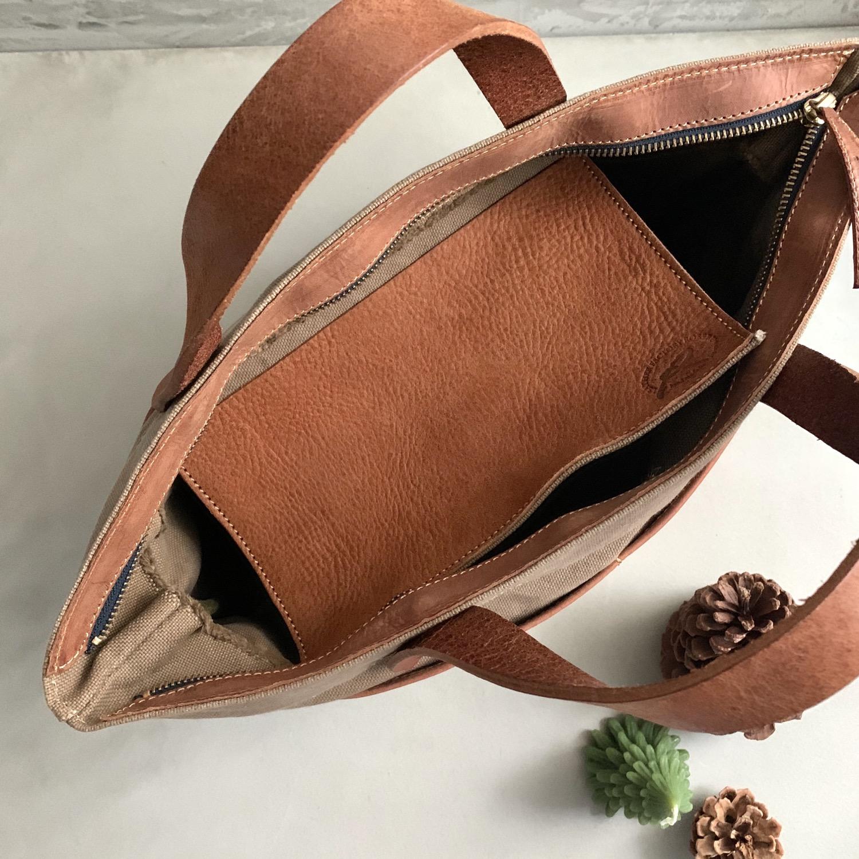 Thumbnail: Roberu Washed Canvas Multi Pocket Bag - Light Brown
