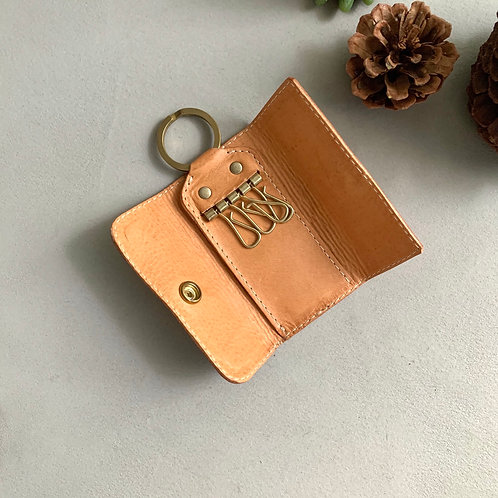 Roberu Compact Key Case Italy Vachetta Leather - Natural Tan