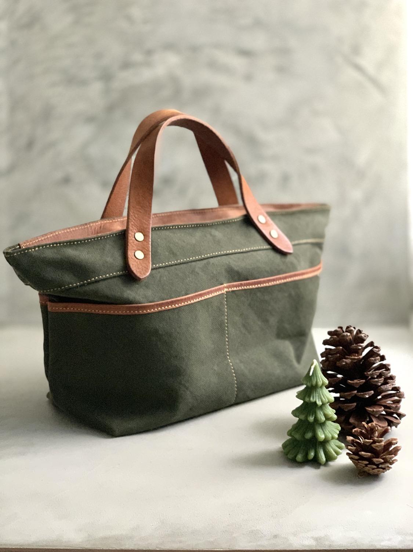 Roberu Washed Canvas Multi Pocket Bag - Olive