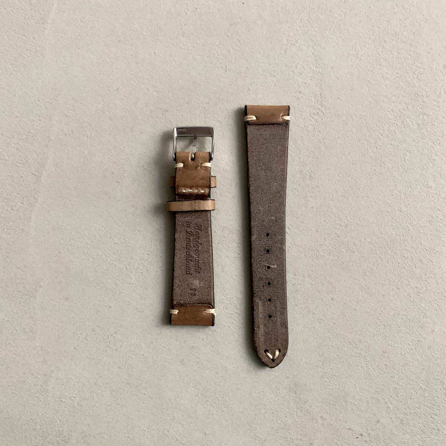 Thumbnail: Fluco Hunter Leather Watch Strap - Beige