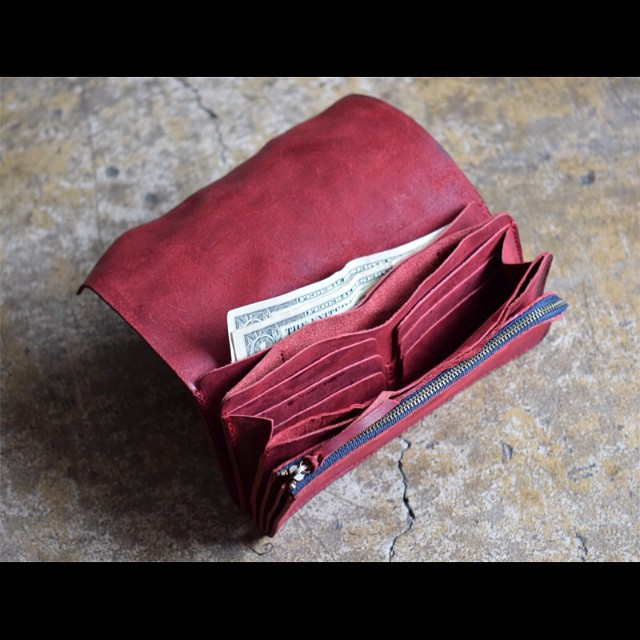 Roberu Washed Leather Long Wallet Red
