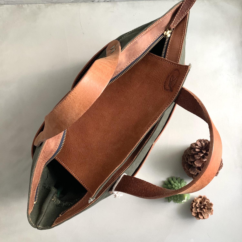 Thumbnail: Roberu Washed Canvas Multi Pocket Bag - Olive
