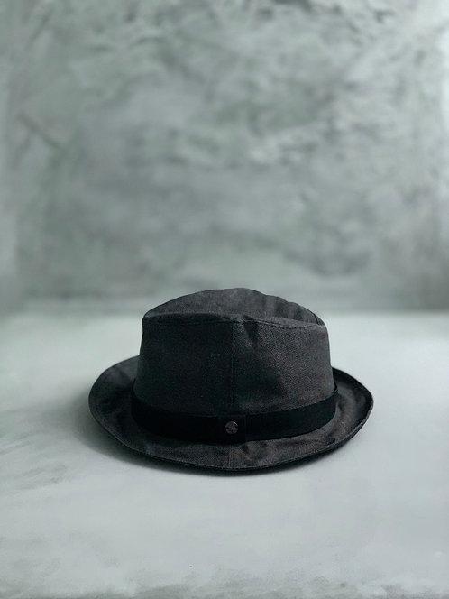 Morno Paper Cloth Leather Ribbon Hat - Black