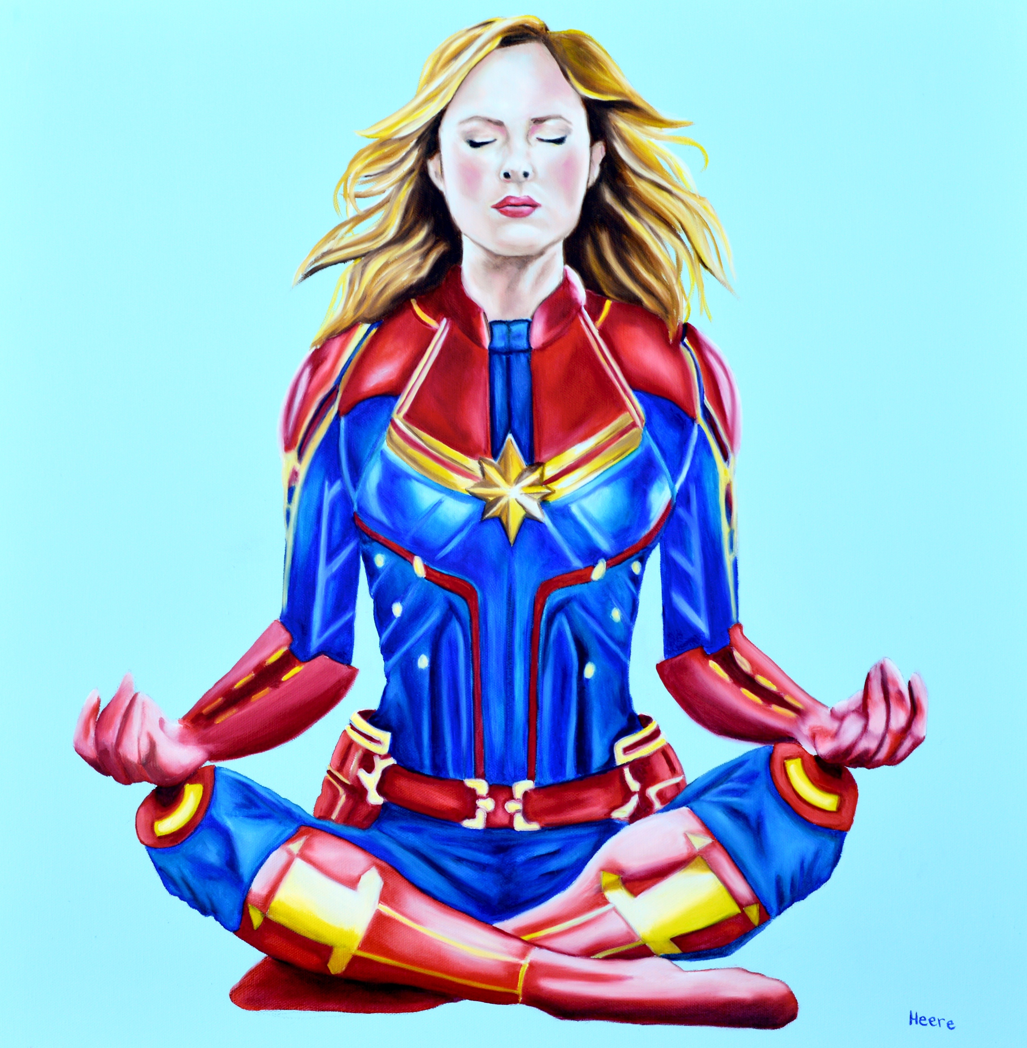 Captain Marvel Meditating