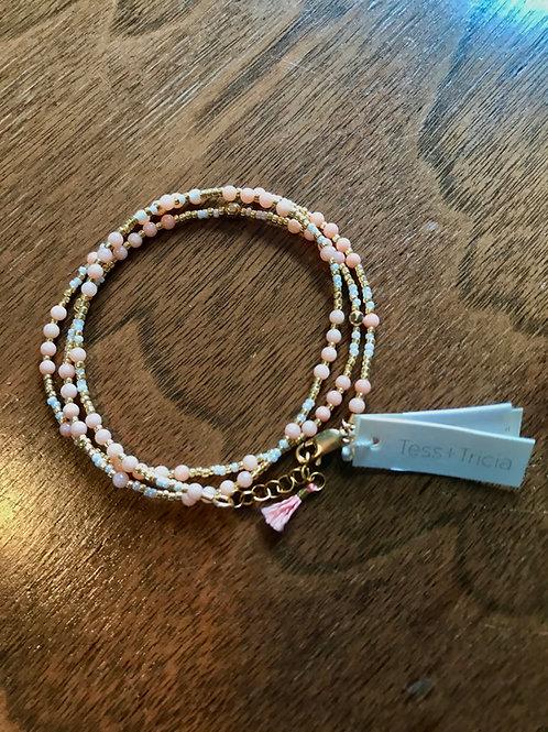 Wrap Bracelet in Peach & Gold