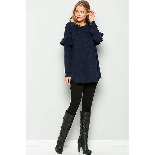 Navy Ruffle Sleeve Sweater Tunic