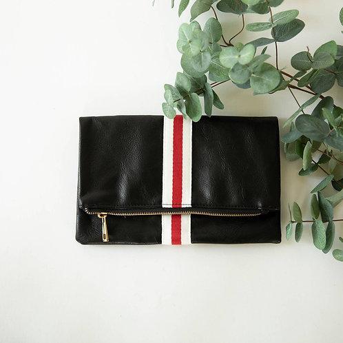 Preppy Stripe Foldover Clutch - Red & White Stripe