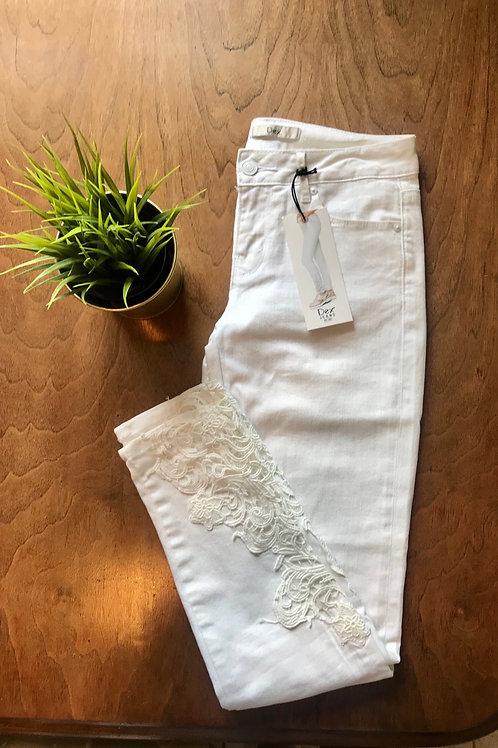 White Lace Denim Jeans