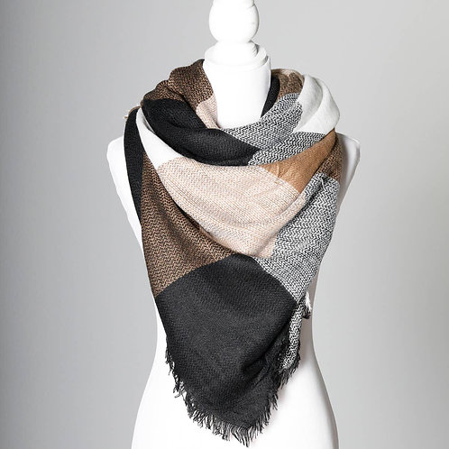 Caramel/Black & White Blanket Scarf